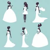 Set of elegant brides in silhouette — Stock Vector