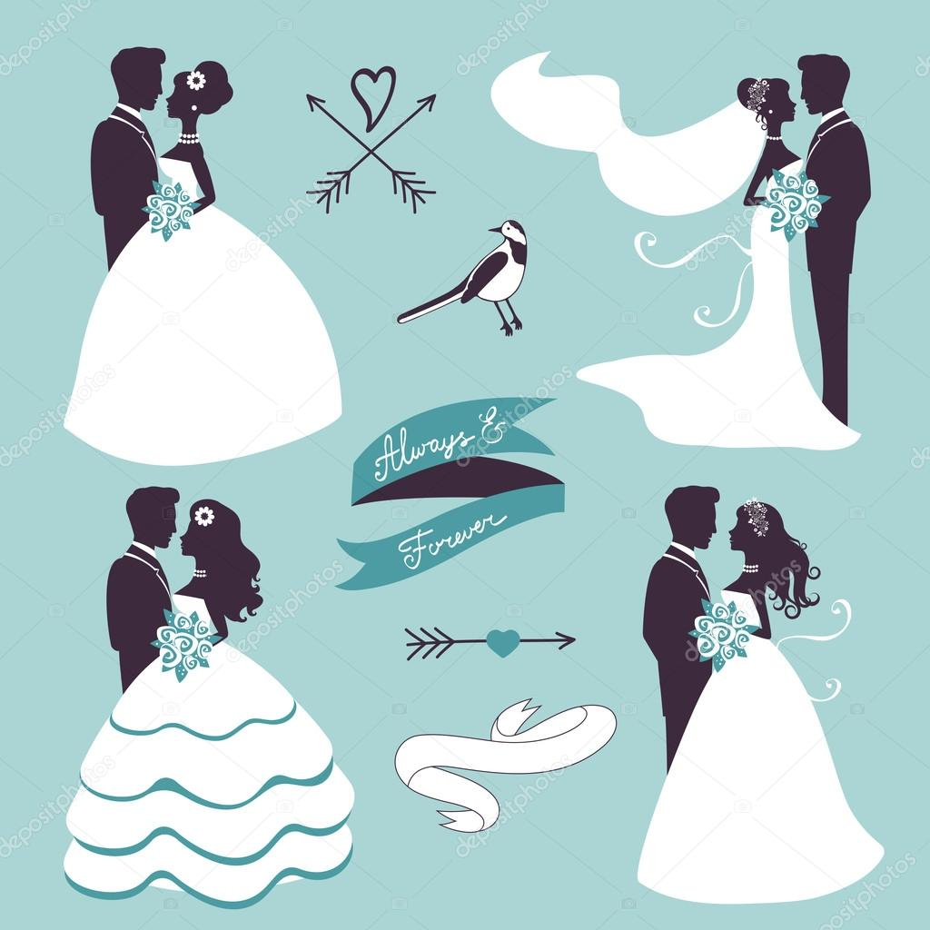 Wonderful couple silhouette vector free photographs
