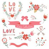 Beautiful love elements collection — Stockvector