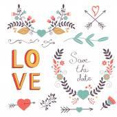 Elegant collection of romantic graphic elements — Stock Vector