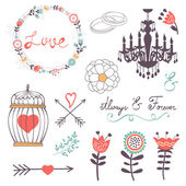 Elegant collection of romantic graphic elements — Stock Vector