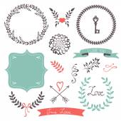 Beautiful collection of  frames and laurels — Stock Vector