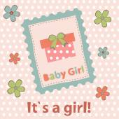 Baby girl arrival announcement card — Stock Vector