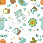Colorful baby boy pattern — Stock Vector