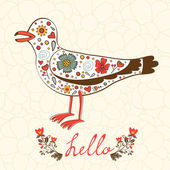 Elegant hello card with flying seagull — Vettoriale Stock