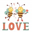 Valentines day card with bees in love — Stock Vector #65917765