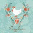 Cute Easter card with chicken in floral wreath — Stock Vector #65920957