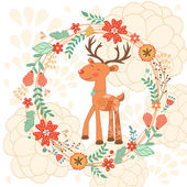 Hello my love card with deer — Stock Vector