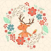 Hallo meine Liebeskarte mit Hirsch — Stockvektor