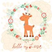 Hello my love card with deer — Stockvector