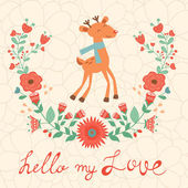 Hello my love card with deer — Vector de stock