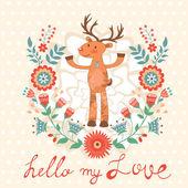 Hello my love card with deer — Stock Vector
