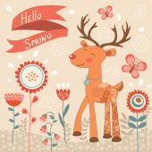 Hello spring concept card with deer — Stock Vector