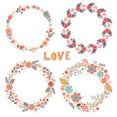 Romantic floral wreaths — Stock Vector