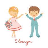 Cute wedding couple — Stock Vector