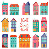 Colorful houses collection. Home sweet home set. — Stock Vector