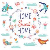 Domácí sladké domácí složení s ptáky a květinový věnec — Stock vektor