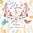 Home is where the heart is concept card — Stock Vector #67886981