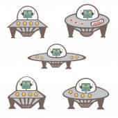 Robot characters in spaceship — Stok Vektör