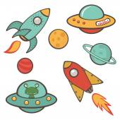 Colorful outer space stickers collection — Stock Vector