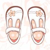 Illustration of beautiful baby girl shoes — Vector de stock