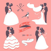 Set of elegant wedding couples in silhouette — Stockvector