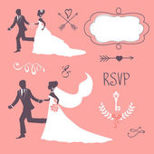 Set of elegant wedding couples in silhouette — Stock Vector