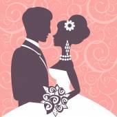 Elegant wedding couple — Stock Vector