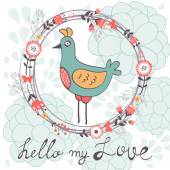 Hello my love card with cute funny bird — Stock Vector