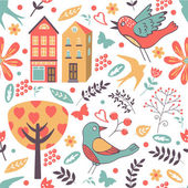 Colorful pattern with birds, flowers and houses — Stock Vector
