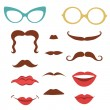 Party set with mustaches, lips, eyeglasses — Stock Vector #69661675