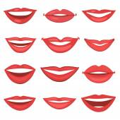 Beautiful lips collection — Stock Vector