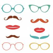 Party set with mustaches, lips, eyeglasses — Stock Vector