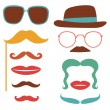 Party set with mustaches, lips, eyeglasses — Stock Vector #69702633
