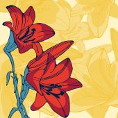 Elegant illustration of lilly flowers — Stock Vector