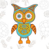 Cute illustration of bright owl character — Stock Vector