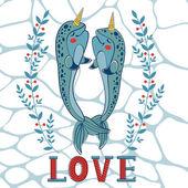 Couple of narwhals in love — Vector de stock