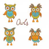 Cute funny owls — Stock Vector