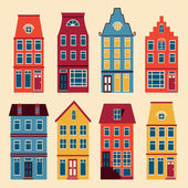 Cute Amsterdam houses set — Stock Vector