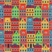 阿姆斯特丹的房子无缝模式 — 图库矢量图片