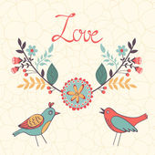 Elegant love card with birds and floral wreath — Stock Vector