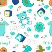 Colorful baby boy seamless pattern — Stockvektor