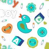 Colorful baby boy seamless pattern — Cтоковый вектор