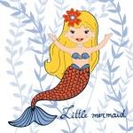 Illustration of a beautiful little mermaid — Stock Vector #71835323