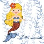 Illustration of a beautiful little mermaid — Stock Vector #71835363