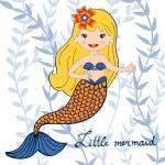 Illustration of a beautiful little mermaid — Stock Vector #71864105