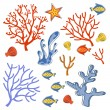 Cute collection of sea weeds, corals and fishes — Stock Vector #71865157