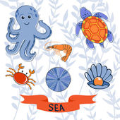 Sea creatures colorful collection — Stock Vector