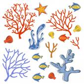 Cute collection of sea weeds, corals and fishes — Stock Vector