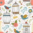 Elegant pattern with flowers, bird cages and birds — Stock Vector #78047252